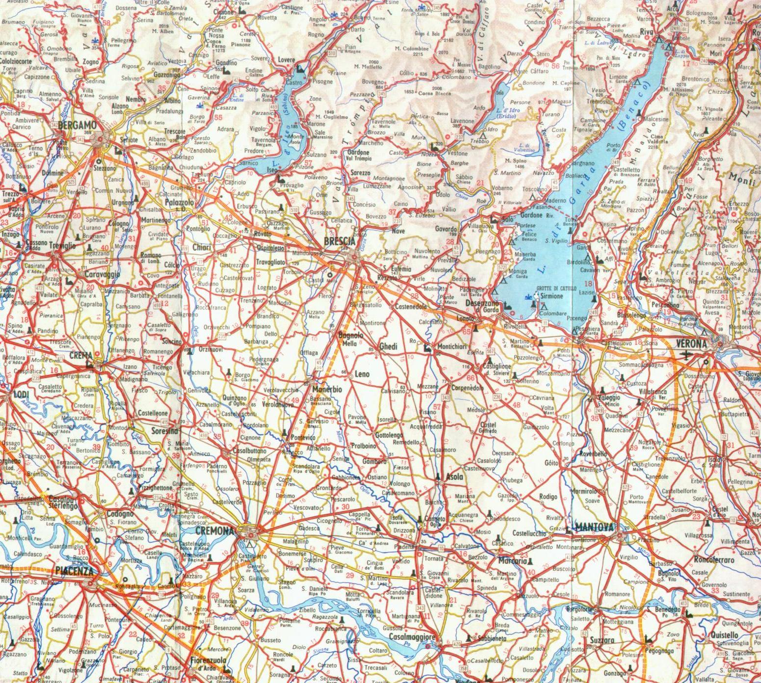 Cartina Autostradale Della Lombardia.Mappa Dettagliata Lombardia Sud Est