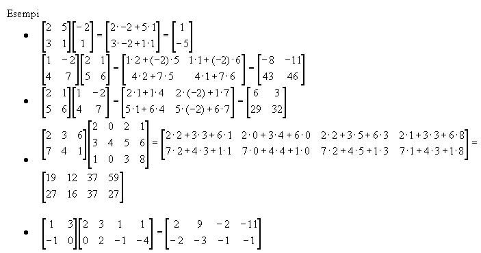 Moltiplicazioni Tra Matrici.Prodotto Di Matrici Righe Per Colonne